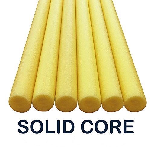 Oodles Solid Core Deluxe Foam Pool Swim Noodles Five Foot Length- 6 Pack Yellow ()