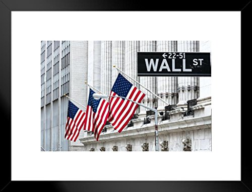 Poster Foundry New York Stock Exchange Wall Street New York City Photo Art Print Matted Framed Wall Art 26x20 inch