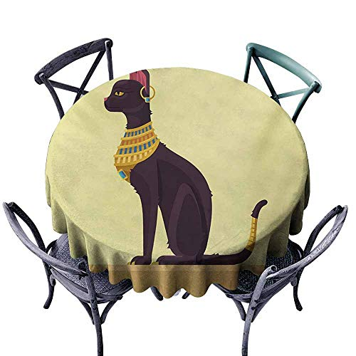 Lgckeg Dust-Proof Tablecloth Egypt Antique Ancient Times Mystical Cartoon Style Cat with Earring Image Pale Yellow Mustard Plum Easy to Clean D35 ()
