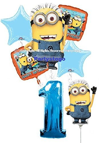 DESPICABLE ME MINIONS 1ST BIRTHDAY BALLOONS WITH MINI SHAPE BIRTHDAY PARTY BALLOONS BOUQUET DECORATIONS SUPPLIES BLUE NUMBER -