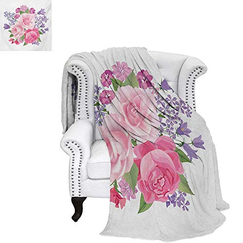 Pink and White Summer Quilt Comforter Bridal Bouquet with Booming Flowers Rose Lavender Violet Corsage Digital Printing Blanket 70
