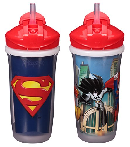 Playtex Sipsters Stage 3 Super Friends Straw Sippy Cups for Boys - 9 Ounce - 2 Count, Blue (Playtex Straw Bottle)