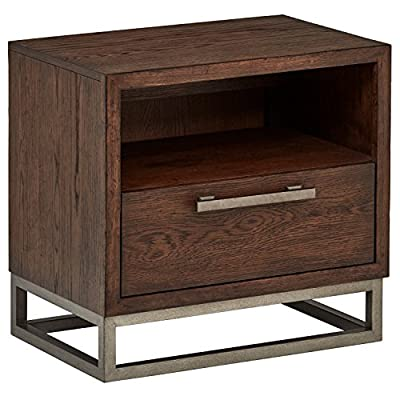 """Amazon Brand – Stone & Beam Glenwood Industrial Metal Accent Nightstand End Table, 23""""H, Oak - This industrial nightstand features a metal drawer pull and matching metal base. The open space over the drawer is perfect for stashing your keys and remote control, and a back-mounted outlet makes charging and plugging in convenient for a lamp or a phone charger. 24""""W x 16""""D x 23""""H Solid hardwood with oak veneer, wire-brushed for a distressed look.  Metal drawer pull and base - nightstands, bedroom-furniture, bedroom - 51ljXAR0L9L. SS400  -"""
