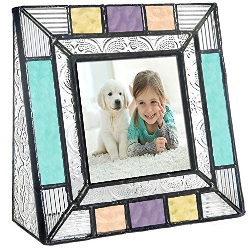 (Colorful Glass Picture Frames Square 3x3 Photo Table Top Blue Peach Purple Turquoise Home Decor Family Baby Gift J Devlin Pic 372-33 )