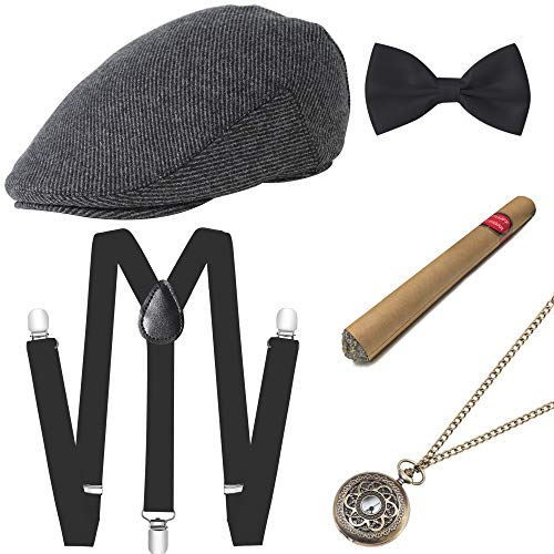BABEYOND 1920s Mens Gatsby Costume Accessories Set Includes Panama Hat Elastic Y-Back Suspender Pre Tied Bow Tie Pocket Watch and Plastic Cigar (Set-2) from BABEYOND