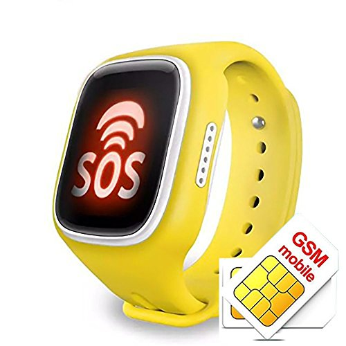 Kids Children Smartwatch Anti-lost Smart Watch with GPS Tracker SOS Call SIM Card Remote Monitor (Yellow) (Icon Sim Card)