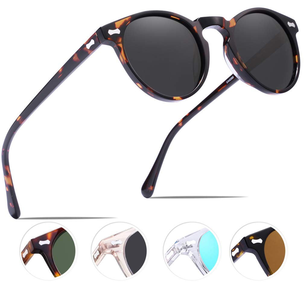 Carfia Vintage Polarized Sunglasses for Women UV400 Protection Lens Acetate Frame by Carfia