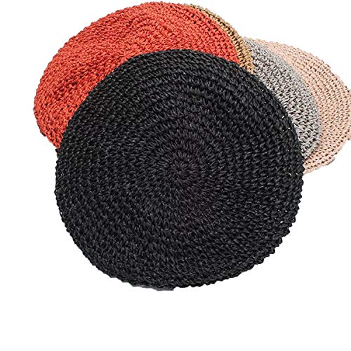 Original Design Hand Hook Women Papyrus Beret Hats Ladies Flat Straw Solid Cap Spring Autumn ()
