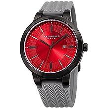Akribos XXIV AK1007 Men's Quartz Tire Tread Design Silicone Strap Watch (Black, Red & Grey)