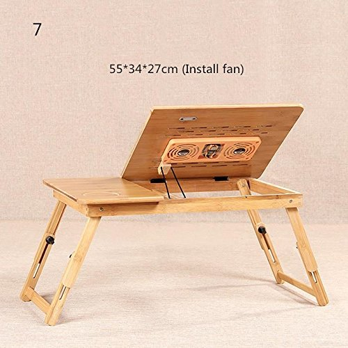 Muzyo Computer Desks Bed Table Home Furniture Bamboo Laptop Desk With Cooling Fan Portable Foldable Computer Desks, 7 by Muzyo