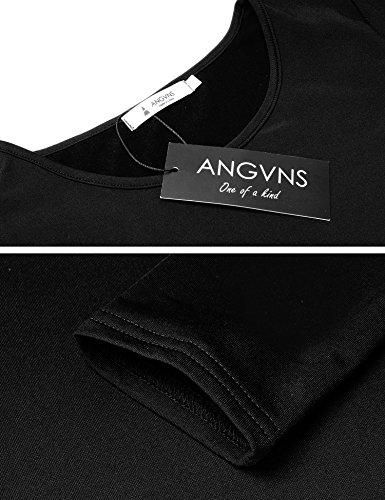 Pencil ANGVNS Above Women Dress Sheath Black Knee Long Split Sexy Sleeve 11Atq