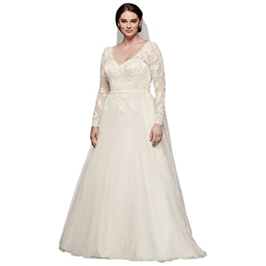 David\'s Bridal Plus Size Long Sleeve Wedding Dress with Low Back ...