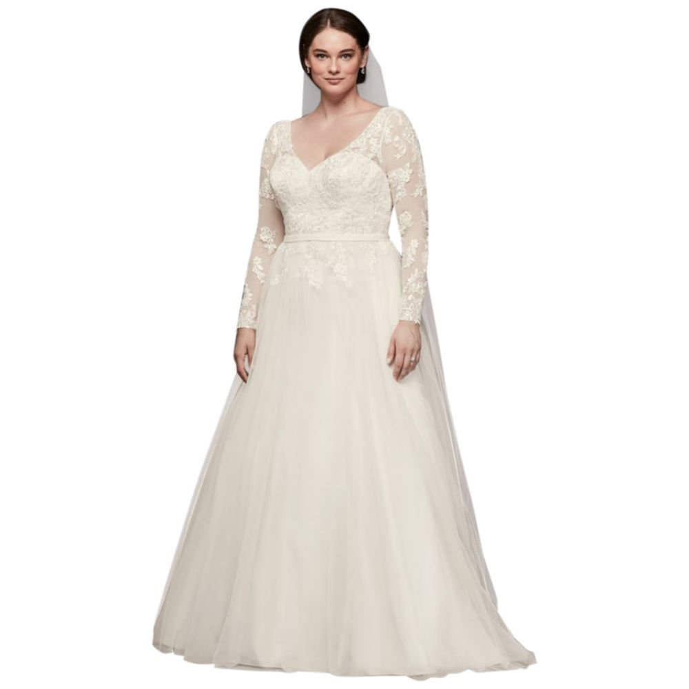 David\'s Bridal Plus Size Long Sleeve Wedding Dress with Low ...
