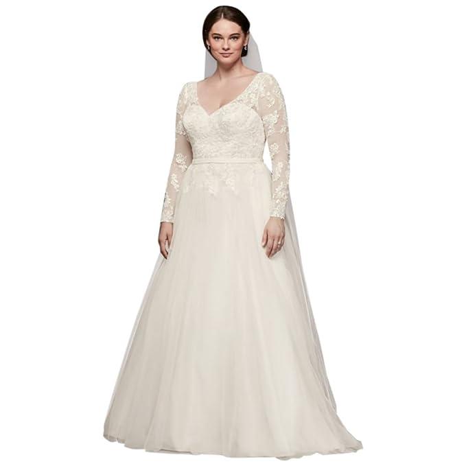 David\'s Bridal Plus Size Long Sleeve Wedding Dress with Low ...