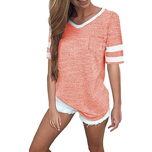 Pink Women T-Shirt Short Sleeve Round Neck Color Block Stripe Patchwork Shirt Tops (M, Pink)