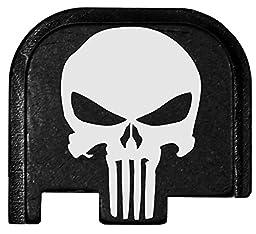 Molon Labe Laser Engraved Rear Cover Plate for Glock 43 Pistols - Skull