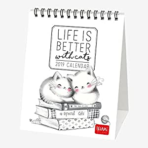 Life is Better 2019 - Calendario de escritorio (12 x 14,5 cm), diseño de gatos: Amazon.es: Oficina y papelería