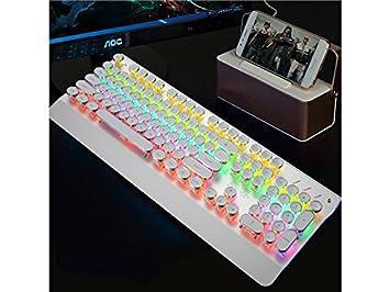 Creativo Teclado de Juego mecánico retroiluminado Teclas Estándar Teclado USB Vintage (Dorado) para computadora: Amazon.es: Electrónica