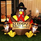 VIVOHOME 6ft Height Happy Thanksgiving Inflatable LED Lighted Turkey Family Blow up Outdoor Lawn Yard Decoration