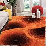 neutral living room Bright Orange Burnt Orange Rust Dark Orange Brown Neutral Colorful 8x10 Large Living Room Bedroom Fluffy Fuzzy Flokati Striped Patterned Plush Soft Modern Contemporary Cozy Sale - SAD 419 Orange