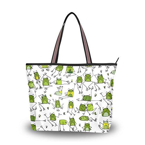 Large Shoulder Bag Funny Frogs Bag Tote Top Handbag With Zipper Pocket Handle Bag