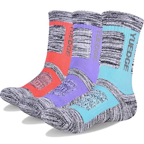 YUEDGE 3 Pairs Women's Wicking Cushion Multi Performance Crew Cotton Socks Athletic Hiking Socks(L)