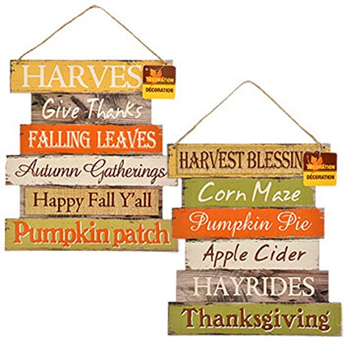 Thanksgiving Decorations For Your Home - Set of 2 Wooden Harvest Signs 10.5