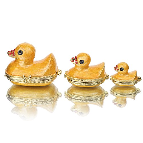 Family Duck Trinket Box Easter Day Gifts for Her for Him Birthday Gifts for Women Fine Pewter Boxes Jeweled Small Box with Crystal Decor Jewelry Holder Organizer Trinket Boxes Hinged (duck)