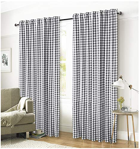 (Ramanta Home Gingham Check Window Curtain Panel, 100% Cotton, Charcoal/White, Cotton Curtains, 2 Panels Curtain, Tab Top Curtains, 50x108 Inches, Set of 2)