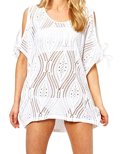 CHERRY CAT Solid Plus Size Beach Cover Ups Swim Beach wear Bikini Swimsuit Cover Ups Bathing Suit Cover-ups (White)