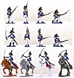 Plastic Toy Soldiers Napoleonic French Infantry Battle of Waterloo Painted Set 1/32 Scale 16 Pieces by Sunjade