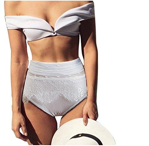 Ularma 2016 Las mujeres bikiní blanco de encaje, Push up acolchado sujetador traje de baño blanco
