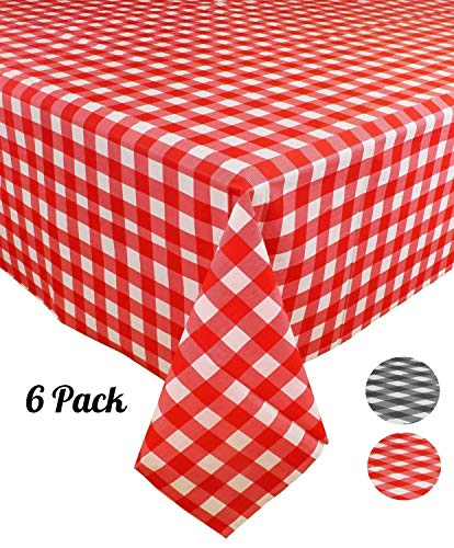 Disposable Checkered Tablecloths ([6 Pack] Plastic Red and White Checkered Tablecloth, Disposable Gingham Party Table Covers, Rectangle 54