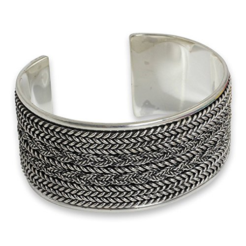 Sterling Artisan Crafted Braid - NOVICA .925 Sterling Silver Cuff Bracelet 'Wicker Weave'
