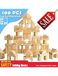 CECII 100 Pcs Wooden Blocks Wood Building Block Set with Carrying Bag - 100% Real Wood(Natural Colored) BOBEBE Online Baby Store From New York to Miami and Los Angeles