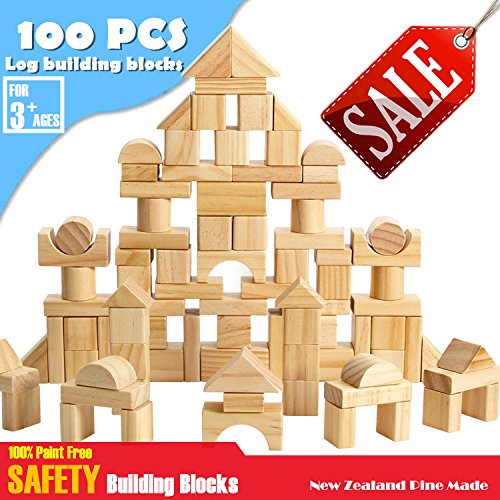 CECII 100 Pcs Wooden Blocks Wood Building Block Set with Carrying Bag - 100% Real Wood(Natural Colored)