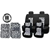 New and Exclusive Mesh Animal Print Interior Set White Zebra 15pc Seat Covers Front & Back Lowback, Back Bench, Steering Wheel & Seat Belt Covers - Floor Mats - Padded Mesh