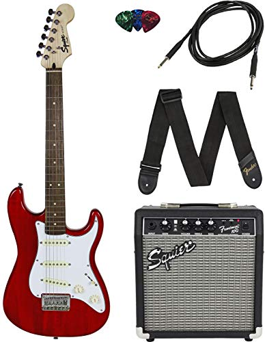 Squier by Fender Short Scale Stratocaster Pack with Frontman 10G Amp, Cable, Strap, and Picks -Red