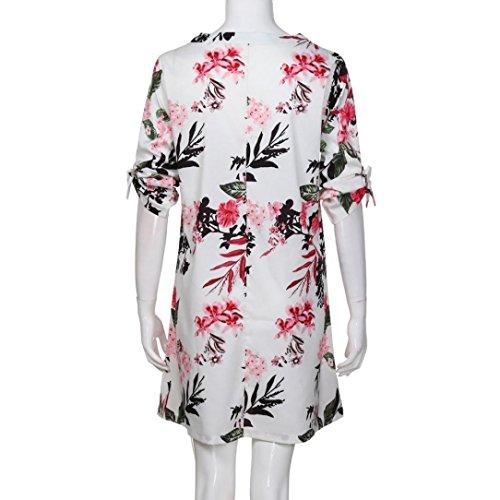 Robes Robe Femme Robe Dcontracte Beikoard Floral z Manches Cocktail Blanc t Cocktail Robe Robe Jupe Soire de Imprim Bowknot Robe t Mini de Vetement de Robe qCwwPdA