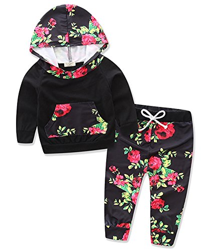 Price comparison product image Alleppa Baby Girls Long Sleeve Hoodie With Kangaroo Pocket Rose Printed Pant 2PCS Set Outfit, Black-Floral, 18-24M