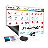 "UCMD Magnetic Dry Erase Refrigerator Calendar,Smart Whiteboard Planner for Fridge 12""x17""- with Stain Resistant Technology - 4 Fine Tip Markers - Fridge Magnets (Colorful)"