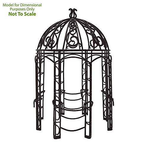 Achla Designs Decorative Wrought Iron Circular Round Rhapsody Garden Pavilion