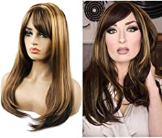 TopWigy Women Brunette Wig Synthetic Heat Resistant Long Straight Layered Wig with Bangs Brown with Highlights Daily Wear