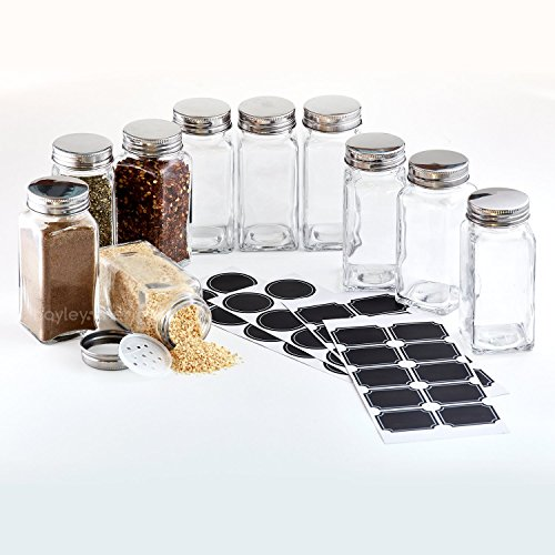 Hayley Cherie - 6 Oz Large Square Glass Spice Jars (Set of 10) - Chalkboard Labels, Stainless Steel Lids and Shaker ()