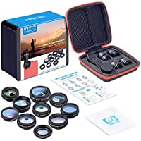 Apexel 10 in 1 Cell Phone Camera Lens Kit Wide Angle Lens...