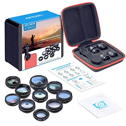 Apexel 10 in 1 Cell Phone Camera Lens Kit Wide Angle Lens & Macro Lens+Fisheye Lens+Telephoto Lens+CPL/Flow/Radial/Star Filter+Kaleidoscope 3/6 Lens for iPhone Samsung Sony and Most of Smartphone from Apexel