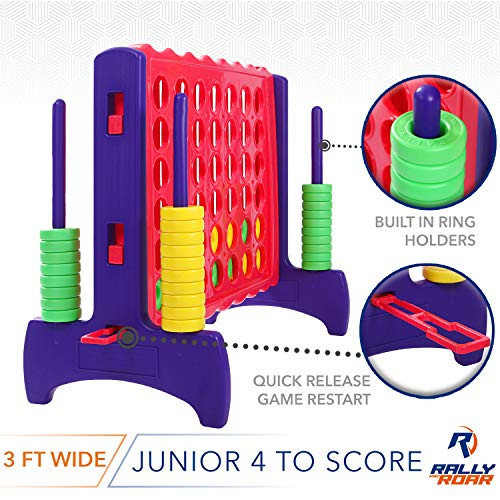 """Giant 4 in A Row, 4 to Score - Premium Plastic Four Connect Game JUNIOR 2.75FT (33.5"""" Tall) Set With 44 Rings by Rally & Roar – Oversized Fun Family, Indoor/Outdoor Games"""