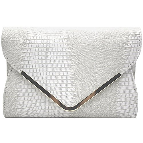 Wiwsi Embossed Leather Envelope Clutches for Women Evening Handbags Shoulder Bag(White) ()