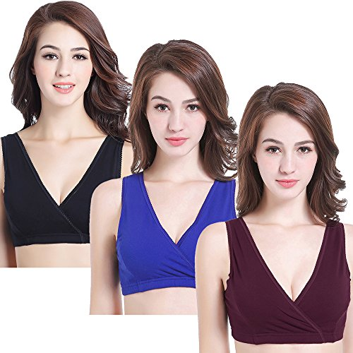 CAKYE Women's Maternity Nursing Bra for Sleep and Breastfeeding 3 Pcs/Pack (Medium/36B,36C,36D, Black/Burgundy/RoyalBlue)
