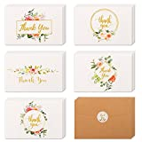 40 Floral & Gold Thank You Cards | Thank You Notes Bulk Box Set with Kraft Envelopes & Stickers | Large 4 x 6'' White Greeting Cards Blank Inside | Perfect For Wedding, Graduation, Men & Women Sympathy